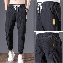 Varsanol bahar erkek pantolon nefes Joggers pantolon pantolon moda Streetwear tam boy kalem pantolon naylon boy 28-38
