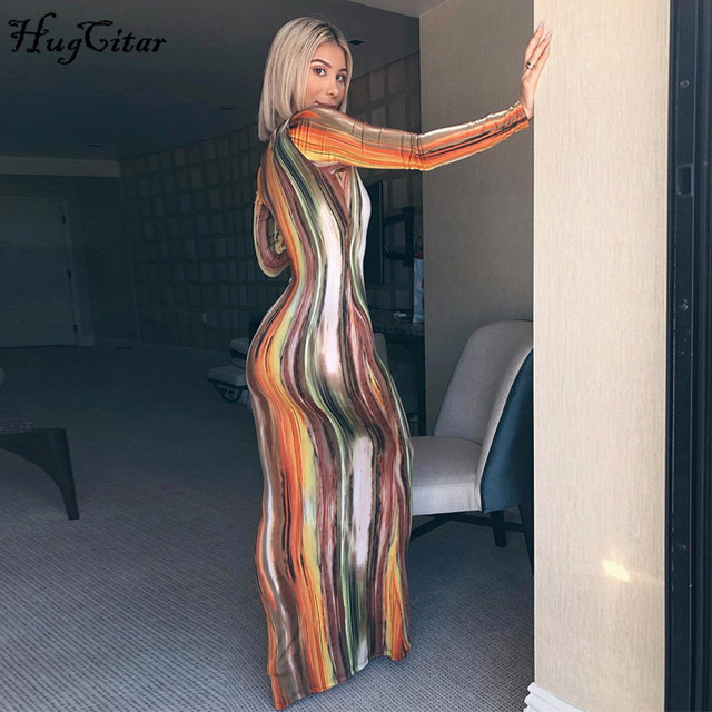 Hugcitar 2020 long sleeve colorful print V-neck bodycon long dress spring women new fashion streetwear party elegant outfits 4