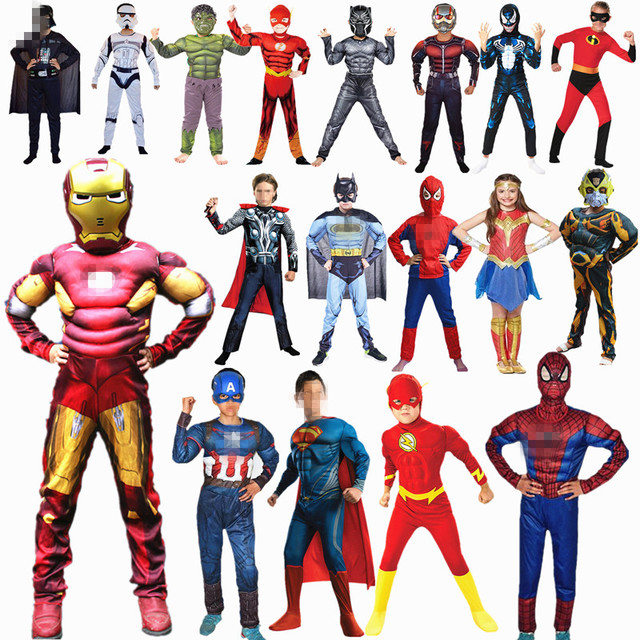 4-12Y Child Super Hero Cosplay Costume for Boys Carnival Halloween for Kids Party Costume Child Shield and Glove Accessories