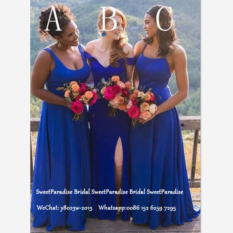 Royal Blue Long Bridesmaid Dresses For Women Vestido De Festa A Line Sleeveless Formal Wedding Guest Dress Party Gown