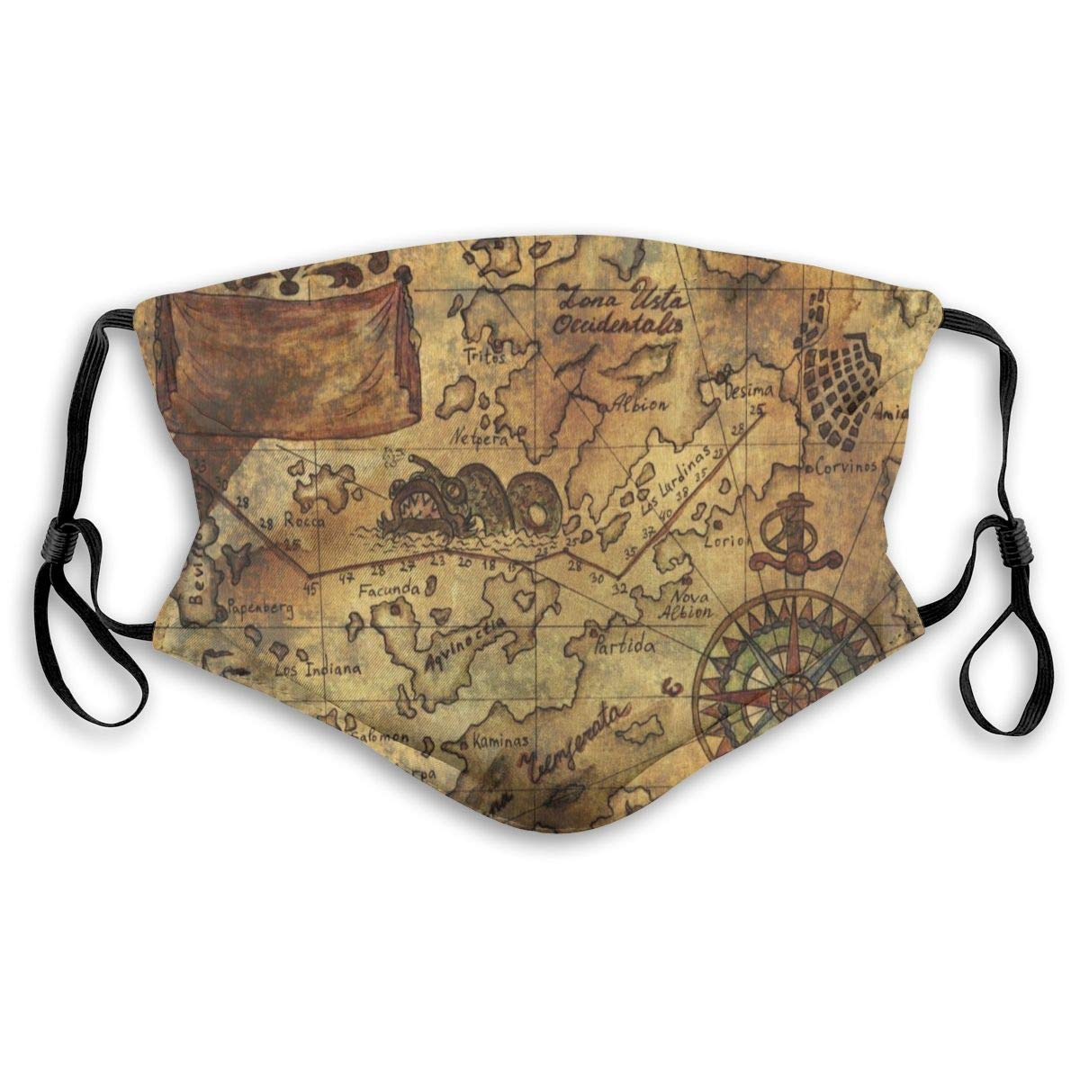 Antique Old World Map Face Masks With Replaceable Filter Mouth Mask Muffle Mask Breathable And Comfortable Mouth Cover Mask For