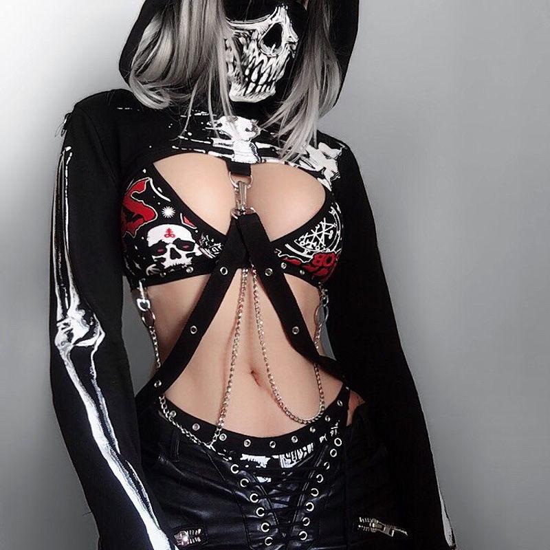 Women Gothic Punk Hoodies Black Skeleton Print Long Sleeve Hooded Crop Tops With Mask Fashion Party Top Sweatshirt Femme