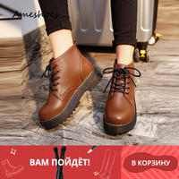 Women Winter Ankle Boots Pu Leather Women Boots Work Shoes Round Toe Lace Up Women Shoes Black Brown Female Ankle Boots A 333