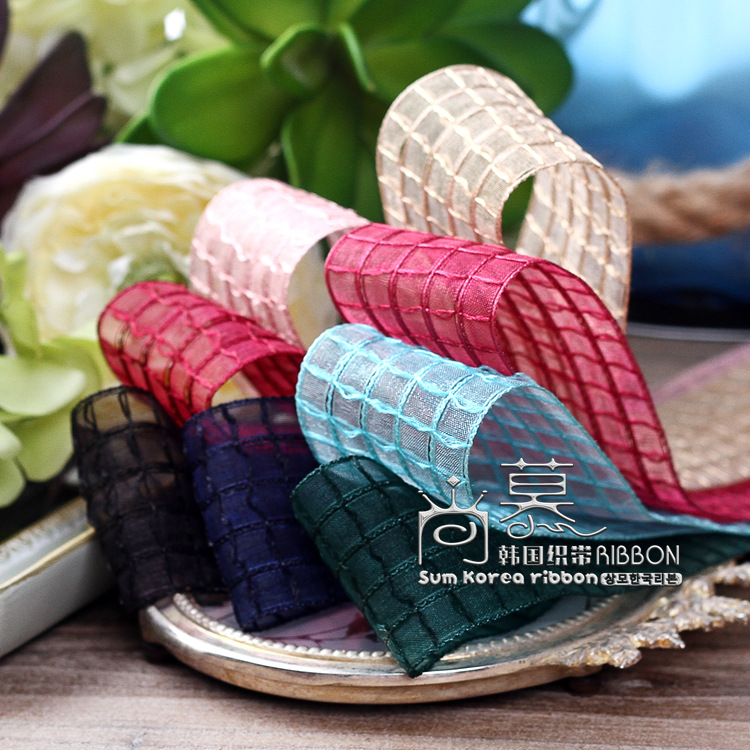 100yards 25 50 70mm big plaid mesh ribbon for hair bow diy accessories craft supplies wedding party supplies bouque packing in Ribbons from Home Garden