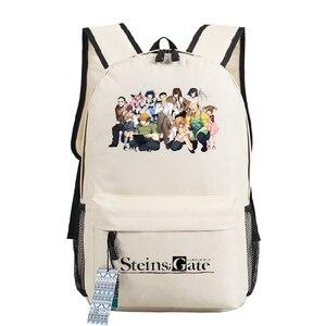 Image 4 - Mochila de Cosplay Steins Gate, bolso para adolescentes, mochila de Anime Oxford, bolsa de viaje Unisex para ordenador portátil, regalo