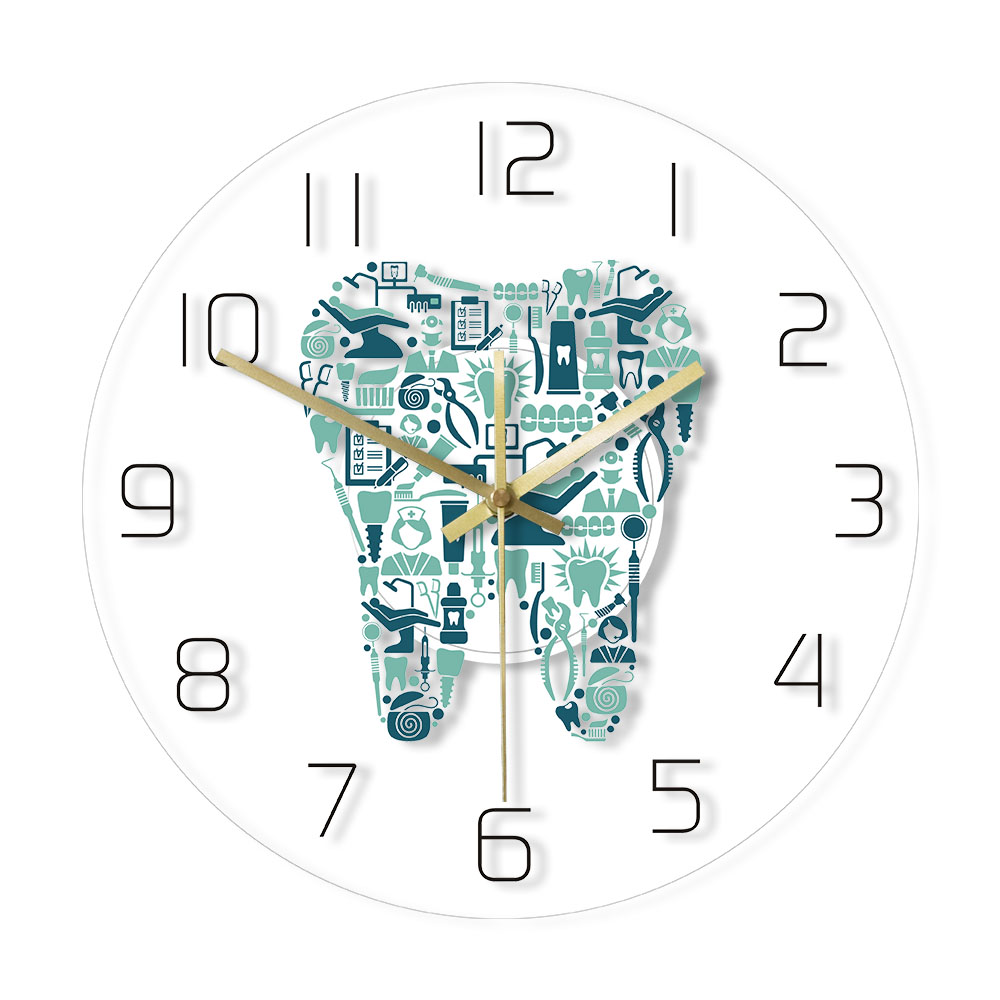 Dentistry Tooth Wall Clock Dental Care Symbols Acrylic Hanging Clock Quiet Movement Wall Watch Dental Department Decor Wall Sign