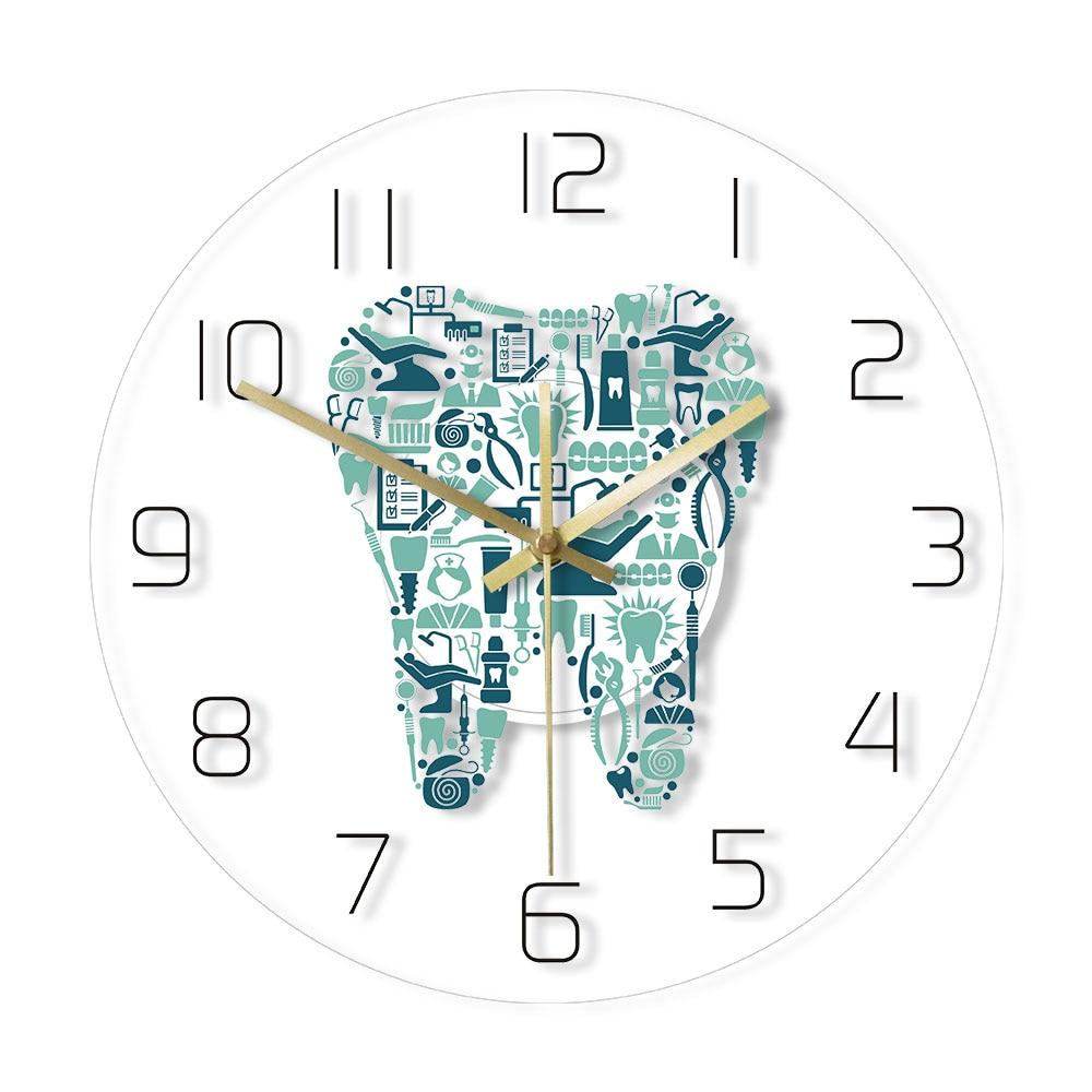 Horloge murale de dentisterie | Horloge avec symboles de soins dentaires, horloge suspendue en acrylique, mouvement silencieux, montre murale, décor pour service dentaire, signe mural