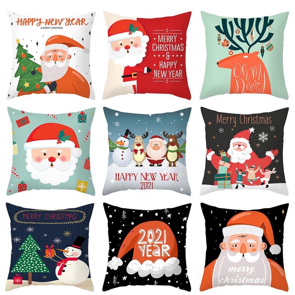 45x45cm Cartoon Weihnachtsmann Elch Weihnachten Kissenbezug - Partyartikel und Dekoration - Foto 3