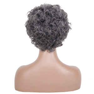 Image 2 - 白髪かつらブラック女性ショートカーリーかつら高齢者のための女性の高温ファイバー人工毛 6 インチ