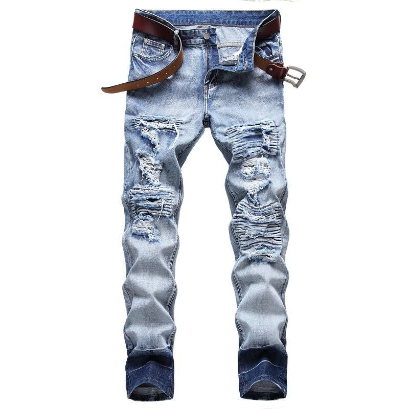 Denim Ripped Hole MOTO BIKE Straight Blue Jeans For Men'S OverSize 40 42 2020 Autumn Spring HIP HOP Punk Rock Streetwear Trouers