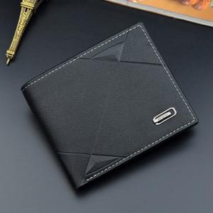 Men Short Bifold Faux Leather Masculina Billetera Credit ID Card Holder Wallet Billfold Purse Clutch Solid Hombre Business Slim