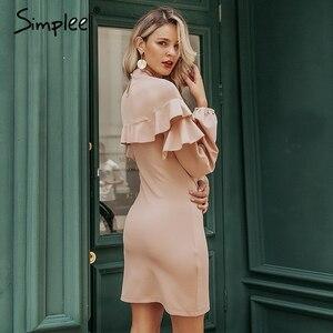 Image 2 - Simplee Elegant Ruffle women dress Turtleneck lantern sleeve female slim party dress Casual ladies work wear autumn winter dress