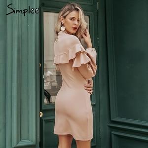 Image 2 - Simplee Elegante Ruches vrouwen jurk Coltrui lantaarn mouw vrouwelijke slim party dress Casual dames werkkleding herfst winter jurk