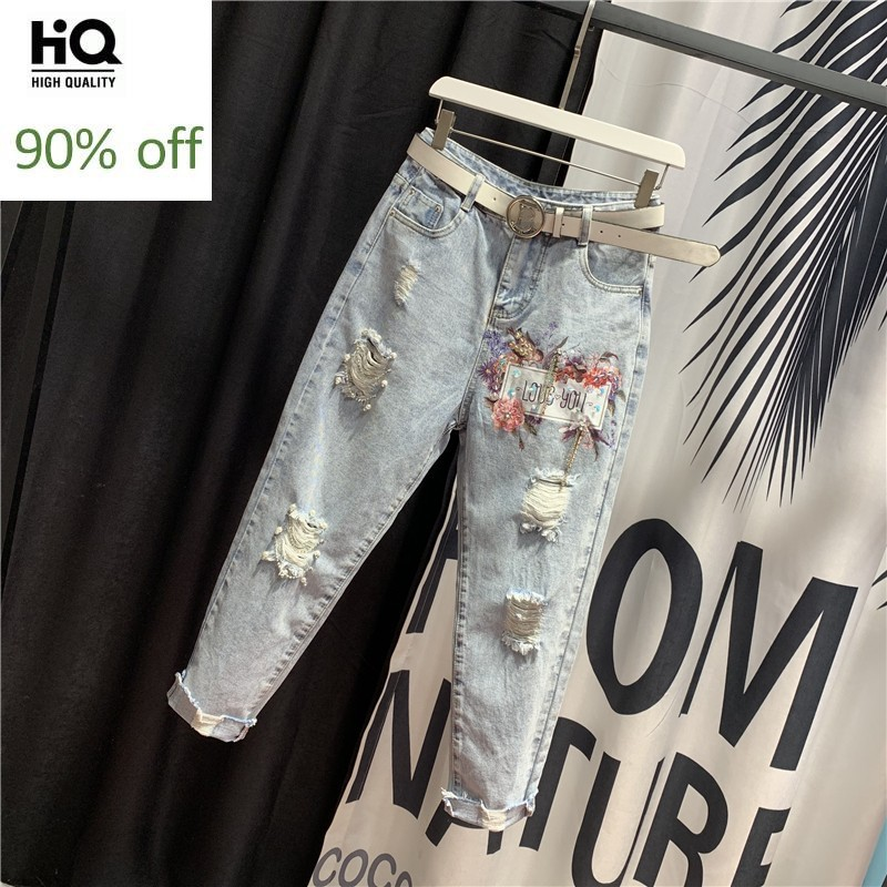 High Waist Chain Diamonds Sequins Embroidered Flares Womens Denim Pants Fashon Hole Ripped Crimping Loose Ankle Length Trousers