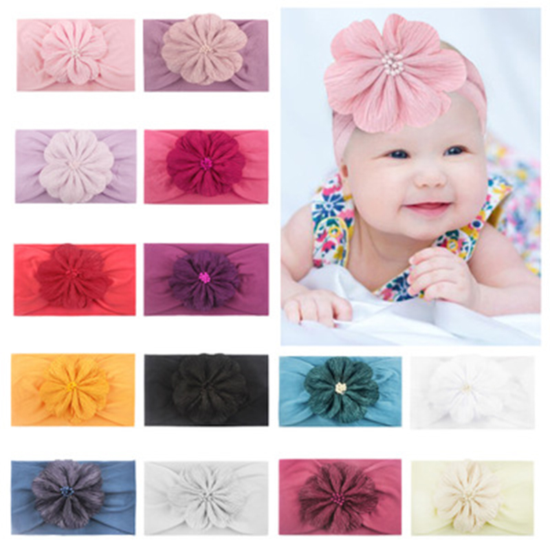 Peral Flower Baby Headband Headwear Super Soft Elastic Handmade Baby Headbands For Girls Newborn Infant Hair Band Accessories