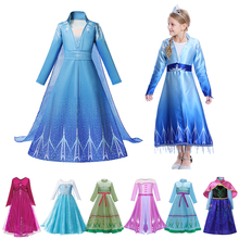 New Snow Queen 2 Anna Elsa Dress for Girls Costume Kids Cosplay Party Clothes Christmas Princess Anna Elsa Fancy Costume Dresses brand free shipping summer for girls cartton anna elsa dress kids dresses princess girl disfraces rapunzel costume clothes 10