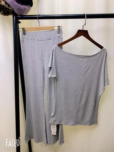 SEXY 2 Piece Sets Womens Outfits Spring Summer Women T Shirt High Waist Pants Wide Leg Womens Long Trousers Two Piece Set Grey 5