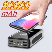 99000mAh Wireless Solar Power Bank External Battery PoverBank 4USB LED Powerbank Portable Mobile Phone Charger for Xiaomi Iphone