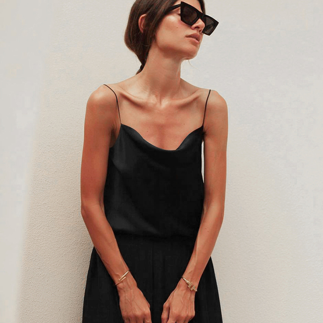 OOTN Elegant Spring Satin Black Cami Top Women Beige Silk Spaghetti Strap Camis Ladies Solid Draped Sleeveless Summer Camisole 2