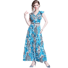 2019 New Summer Dress Women Hot Sale Explosions Elegant V-Neck Ruffled Personality Blue Leopard Long Offece Lady Female