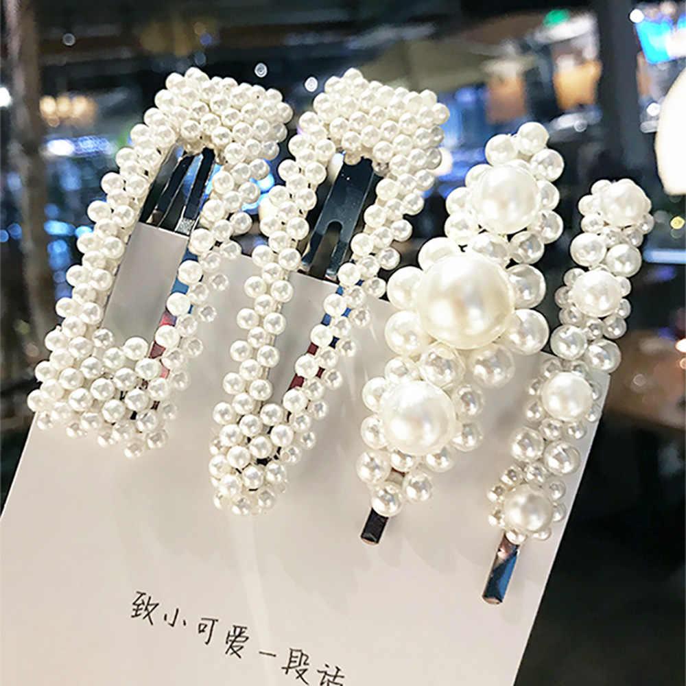 3 ピース/セットファッションパールイミテーション女性のためのバレッタ手作り真珠の花スティックヘアピンアクセサリー