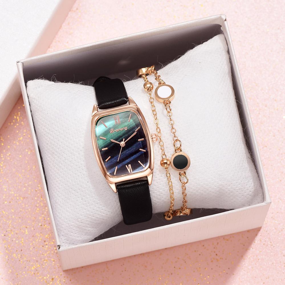 Luxury Women's Watches Bracelet Set Simple Ladies Women Watch Casual Leather Quartz Wristwatch Girl Clock Relogio Feminino