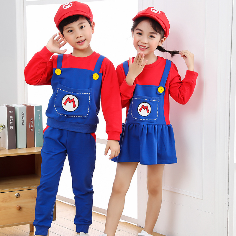 2021 New Year Christmas Clothes Super Marios Children's Bib Dress Luigi Cosplay Costume Anime Family Set Boys Girls Kids Gifts 5