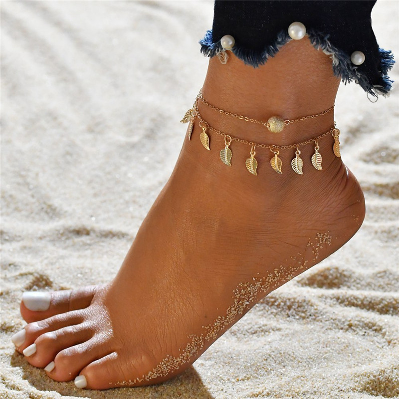 Vagzeb 2pc/set Gold Color Bohemia Summer Beach Leaves Anklet Foot Jewelry Handmade Ball Anklets for Woman