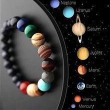 Unquie – Bracelet perlé en pierre naturelle, thème des huit planètes du système solaire, pour hommes et femmes, cadeau à un ami, breloque, bijoux
