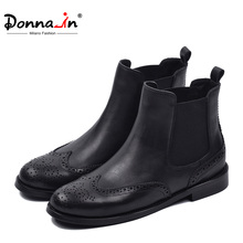 Donna in Autumn Winter Classic Black Chelsea Boots Women Breathable Genuine Leather Short Plush Carve Design Ladies Ankle Boots