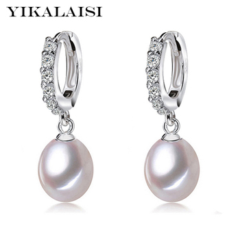 YIKALAISI 925 Sterling Silver Natural Freshwater Pearl Jewelry for office women 8-9mm Drop Earrings White Pink Purple Black natural pearl stud earrings aaaa freshwater pearls 8 9mm 925 sterling silver earrings for women jewelry gift zhrukan