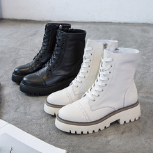Fashion Genuine Leather White Leather Boots Womens New Platform High top Belt Comfortable Soft Boots Autumn Casual Martin Boots