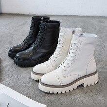 Moda hakiki deri beyaz deri çizmeler kadın yeni platformu yüksek üst kemer rahat yumuşak çizmeler sonbahar rahat Martin çizmeler