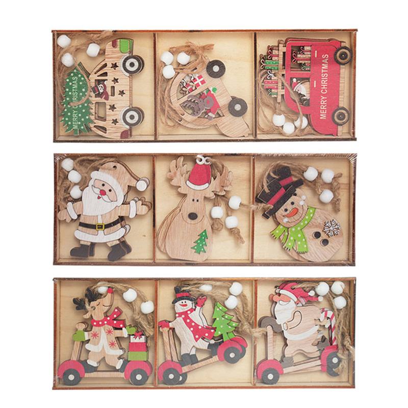 9pcs/box Christmas Car Wooden Pendants Xmas Tree Hanging Ornaments Christmas Decorations for Home Kids Gift Noel Navidad Decor