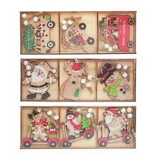 Pendentifs en bois pour voiture de noël, ornements suspendus pour arbre de noël, décorations pour maison, cadeau pour enfants, décor de Noel, 9 pièces/boîte