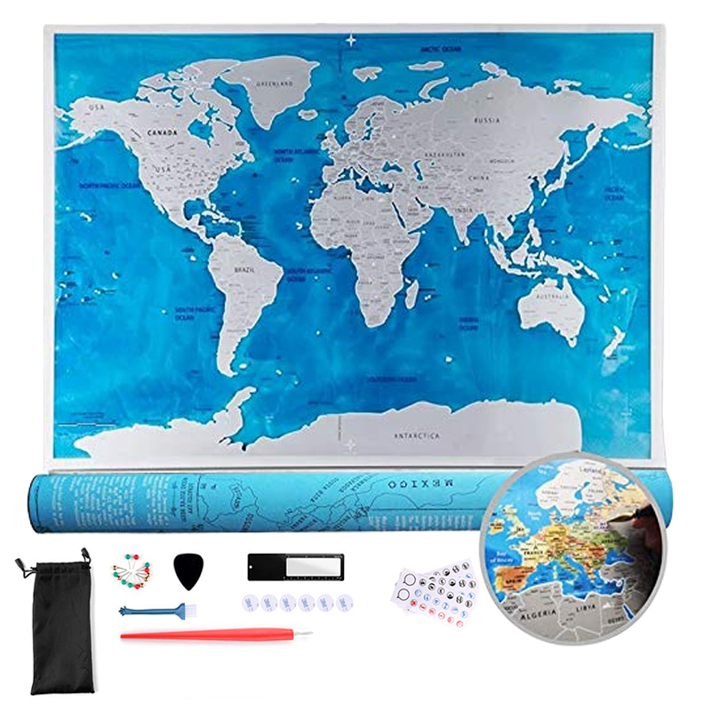 Large Size Scratch Map Deluxe Scratch Off World Travel Map Ocean Edition Personalized Gifts Wall Sticker Poster Home Decoracion image