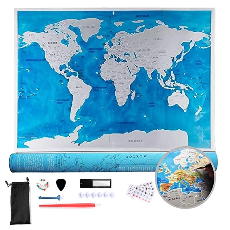Mapa de rasguño de tamaño grande de lujo rasca el mapa de viaje del mundo Edición del océano regalos personalizados pegatina de pared cartel decoración del hogar 34 x LED Canbus lámpara para reposapiés bombillas + interior de luz de mapa Kit para VW Volkswagen T4 T5 T6 Multivan Caravelle transportador