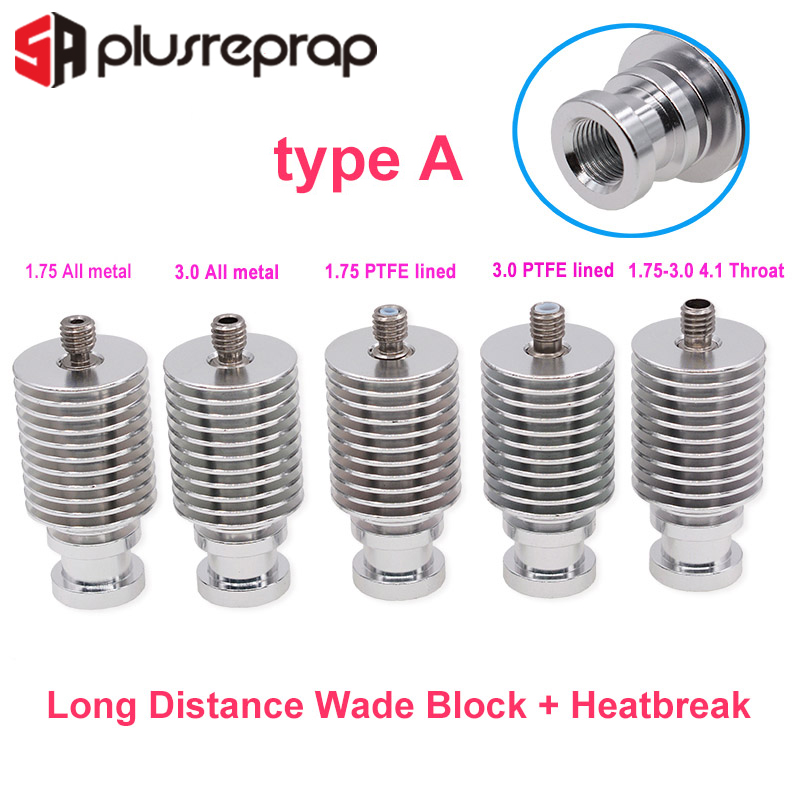 V6 Heat Sink Long Or Short Distance J-head Hotend All Metal Remote Bowden Block With Heat Break For 1.75mm 3.0mm Filament 3D