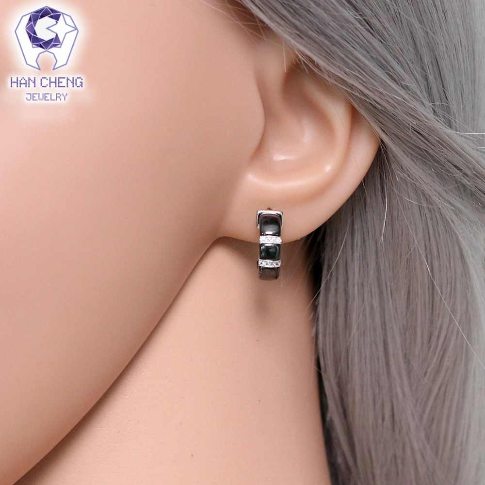 Hancheng Baru Fashion Mewah Hitam Ceramic Berlapis Perak Kuku Batu Permata Zircon CZ Stud Anting-Anting untuk Wanita Perhiasan Brincos Bijoux