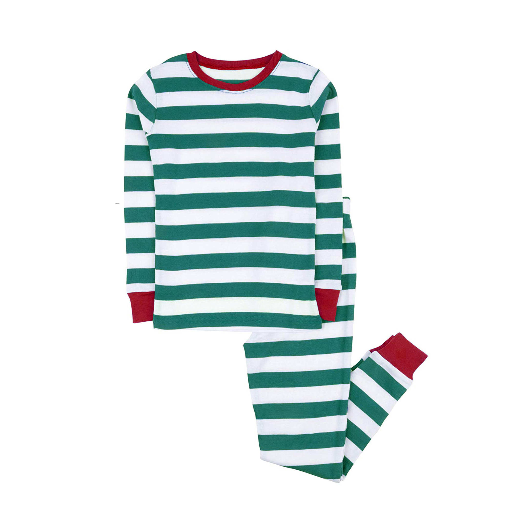 100% cotton boys and girls Christmas stripe pajamas kids sleepwear children pyjamas clothes 2