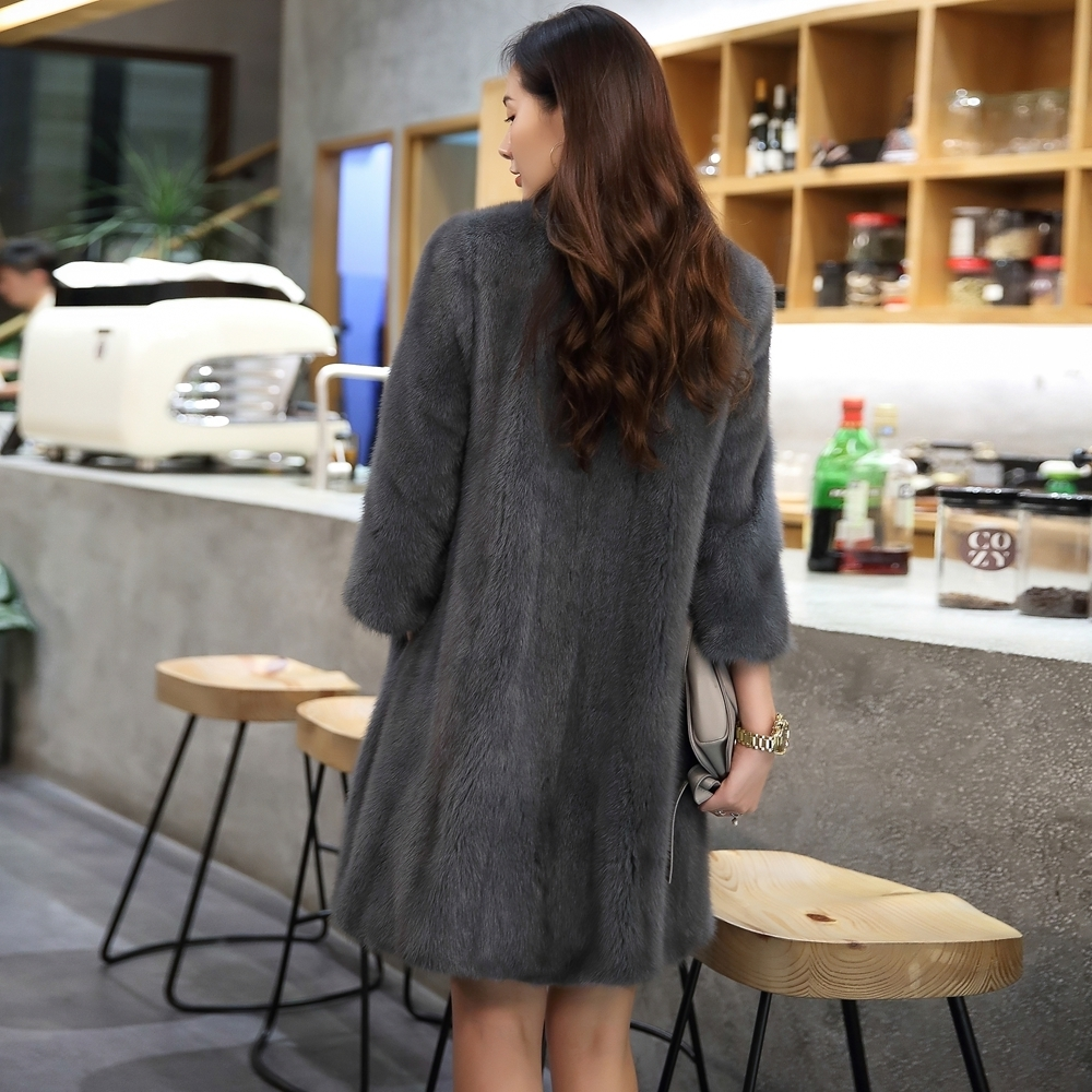 Natural Mink Fur Coat Winter Warm Thick Long Double Faced Fur Jacket Casaca Para Mujer Invierno 2020 AR16D16015 MF376