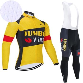 JUMBO VISMA-Ropa deportiva de manga larga para Ciclismo, Maillot de secado rápido...