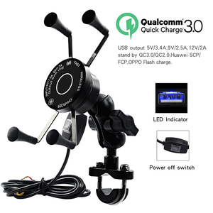 Image 2 - Wireless Motorcycle Bike Mobile Phone Holder With USB Charger Waterproof QC3.0 Fast Charging Bracket Support Moto Phone Holder
