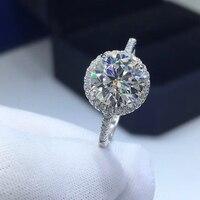 Bestanden Diamant Test Moissanite S925 Silber Gold Überzogene Ring D Farbe Runde Form Moissanite Ring Frauen Engagement Luxus Schmuck