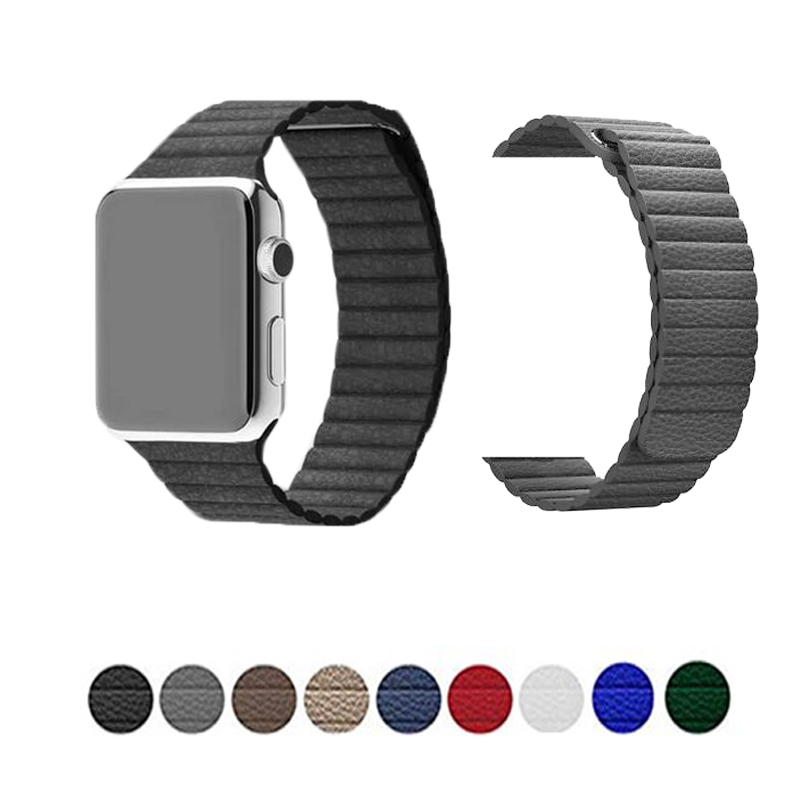Genuine Leather Magnetic Loop Strap For Apple Watch Band 38/42mm&for Apple Watch 4 44/40mm Band Bracelet For Iwatch Series 3 2 1