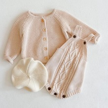 Jumpsuit Cardigan Sweater Knitted Newborn Baby-Girls Toddler Cotton for Kids Overalls