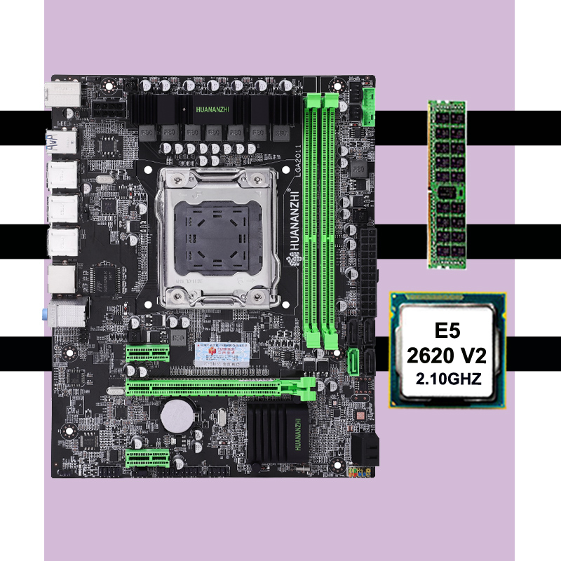 Famous brand motherboard on sale HUANAN ZHI X79 LGA2011 motherboard with CPU Intel xeon <font><b>E5</b></font> <font><b>2620</b></font> <font><b>V2</b></font> RAM 8G DDR3 1600 REG ECC image
