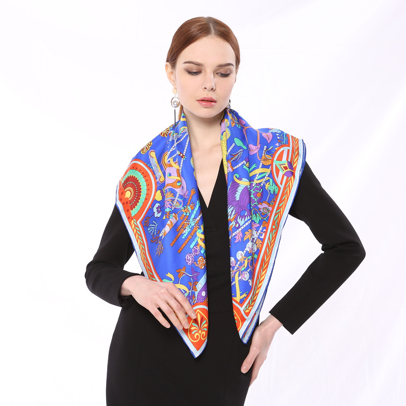 SOURCE Factory Wholesale Spring Women's 100% Mulberry <font><b>Silk</b></font> <font><b>Scarf</b></font> <font><b>90X90</b></font> Cm Twill Weave <font><b>Silk</b></font> Real <font><b>Silk</b></font> Playful Kerchief image