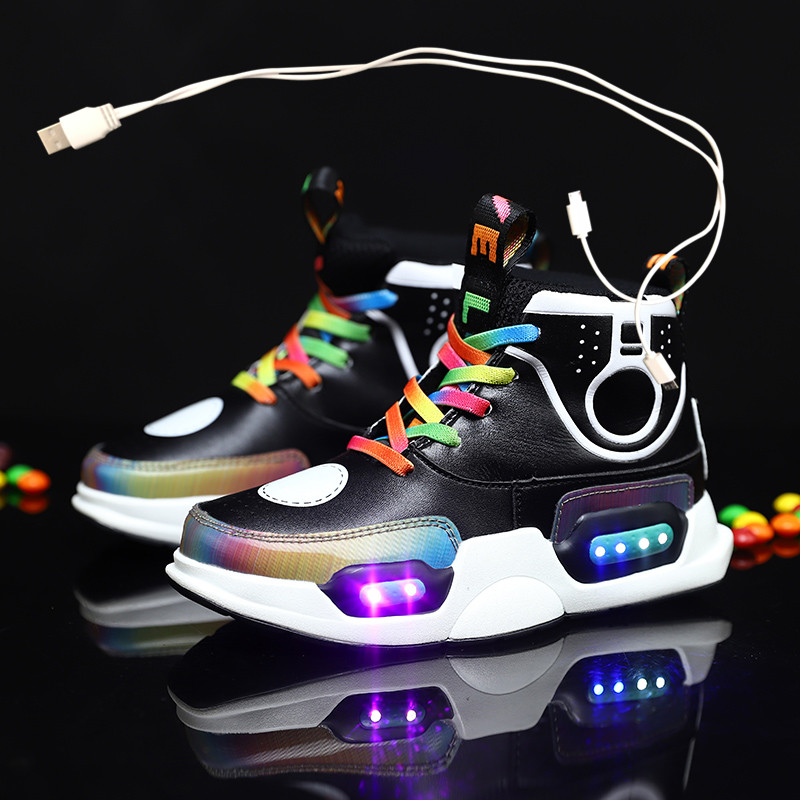 2020 Children USB Charge Colorful Led Back Light Shoes Mesh Girls Flash Luminous Sneakers Boys Glowing Sneakers Kids Shoes