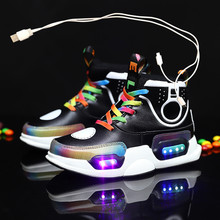 2020 Children USB Charge Colorful Led Back Light Shoes Mesh Girls Flash Luminous